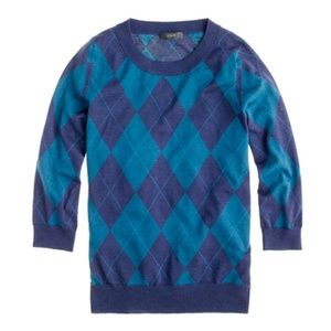 J. CREW Tippi Sweater in Argyle Navy {JJ11}